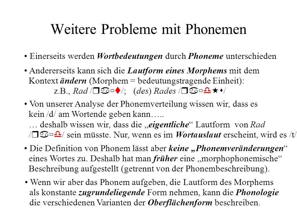 Weitere Probleme mit Phonemen Einerseits werden Wortbedeutungen durch Phoneme unterschieden Andererseits kann sich die Lautform eines Morphems mit dem