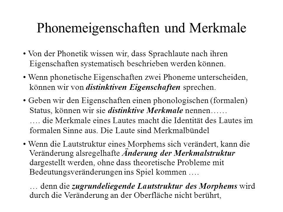 Phonemeigenschaften und Merkmale Von der Phonetik wissen wir, dass Sprachlaute nach ihren Eigenschaften systematisch beschrieben werden können. Wenn d
