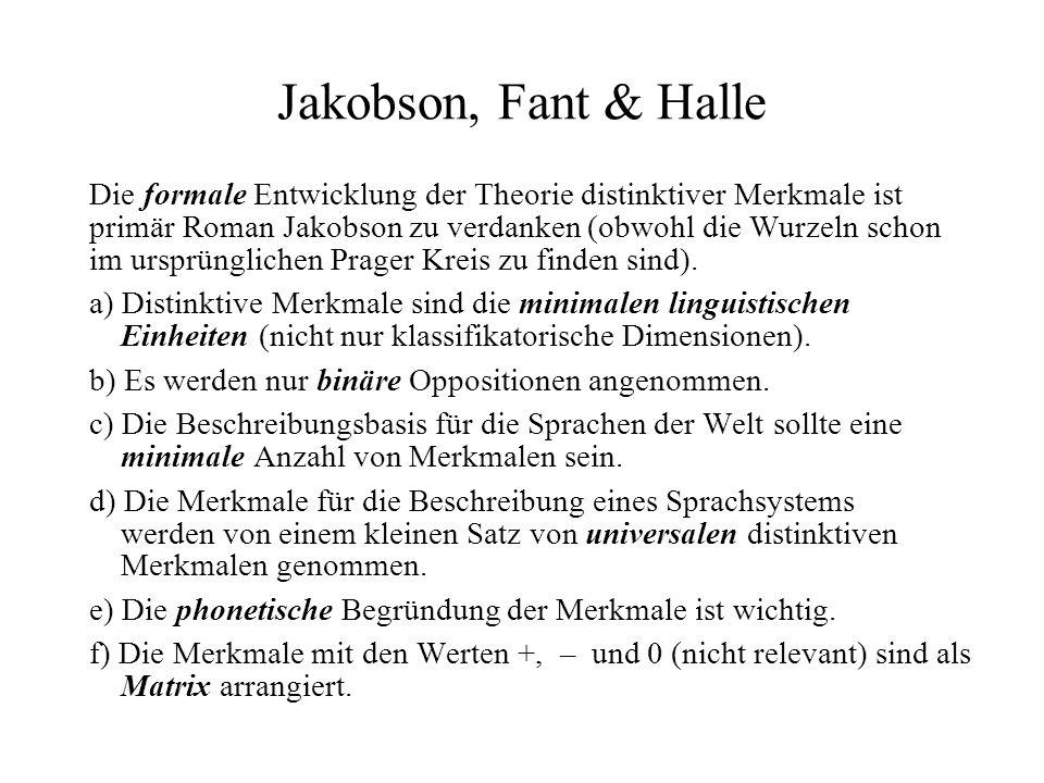 Jakobson, Fant & Halle Die formale Entwicklung der Theorie distinktiver Merkmale ist primär Roman Jakobson zu verdanken (obwohl die Wurzeln schon im u