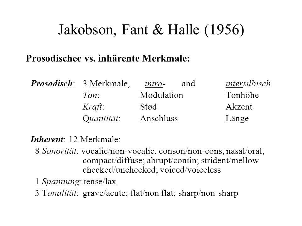 Jakobson, Fant & Halle (1956) Prosodischec vs. inhärente Merkmale: Prosodisch: 3 Merkmale, intra- and intersilbisch Ton: Modulation Tonhöhe Kraft: Stø