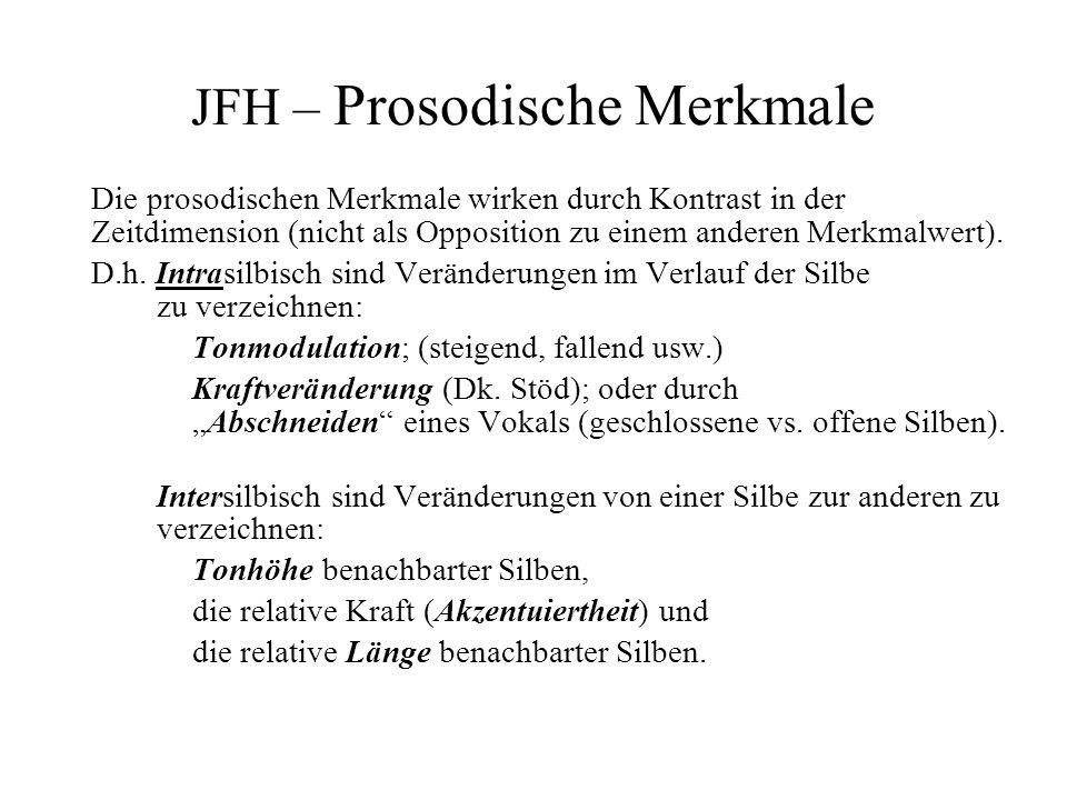 JFH – Prosodische Merkmale Die prosodischen Merkmale wirken durch Kontrast in der Zeitdimension (nicht als Opposition zu einem anderen Merkmalwert). D