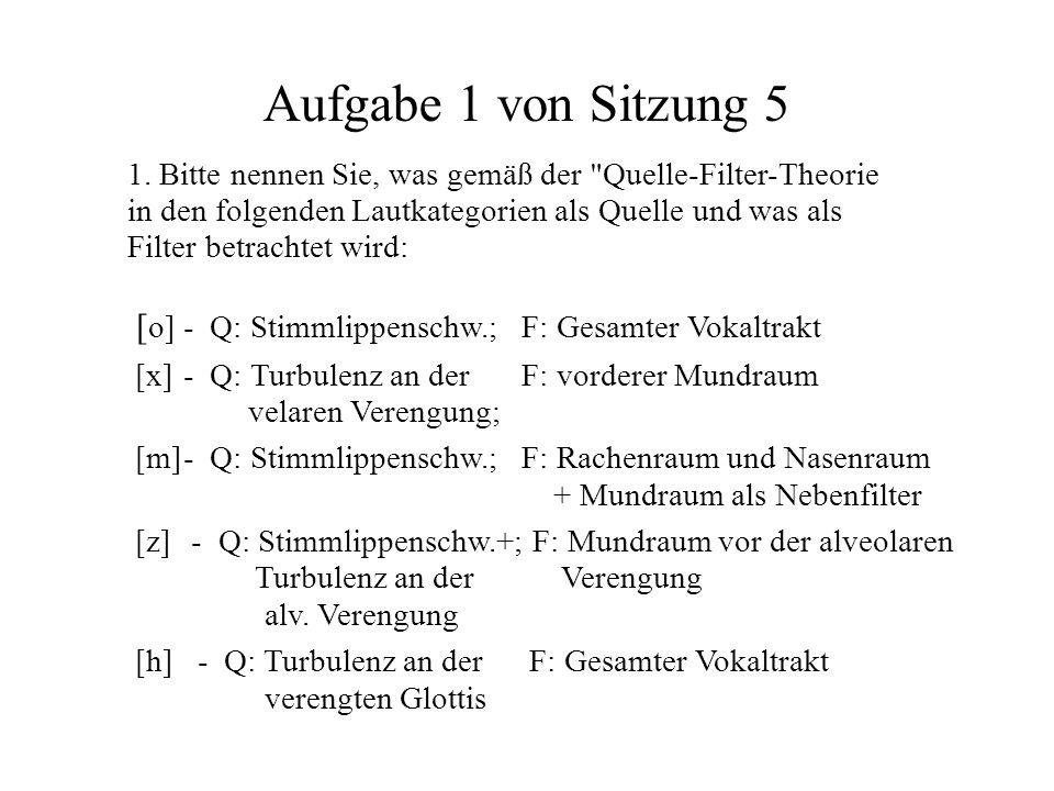 Aufgabe 1 von Sitzung 5 [ o]- Q: Stimmlippenschw.; F: Gesamter Vokaltrakt [x]- Q: Turbulenz an der F: vorderer Mundraum velaren Verengung; [m]- Q: Sti