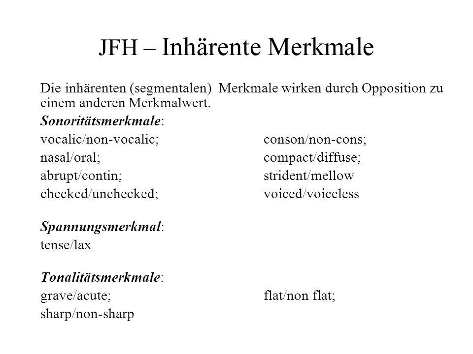 JFH – Inhärente Merkmale Die inhärenten (segmentalen) Merkmale wirken durch Opposition zu einem anderen Merkmalwert. Sonoritätsmerkmale: vocalic/non-v
