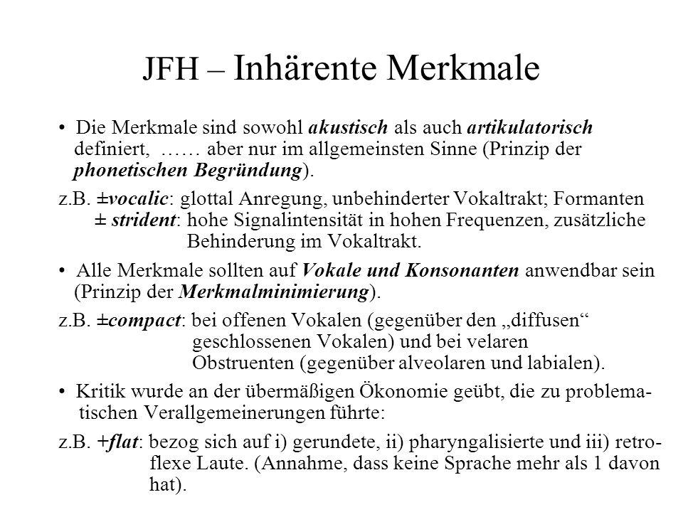 JFH – Inhärente Merkmale Die Merkmale sind sowohl akustisch als auch artikulatorisch definiert, …… aber nur im allgemeinsten Sinne (Prinzip der phonet