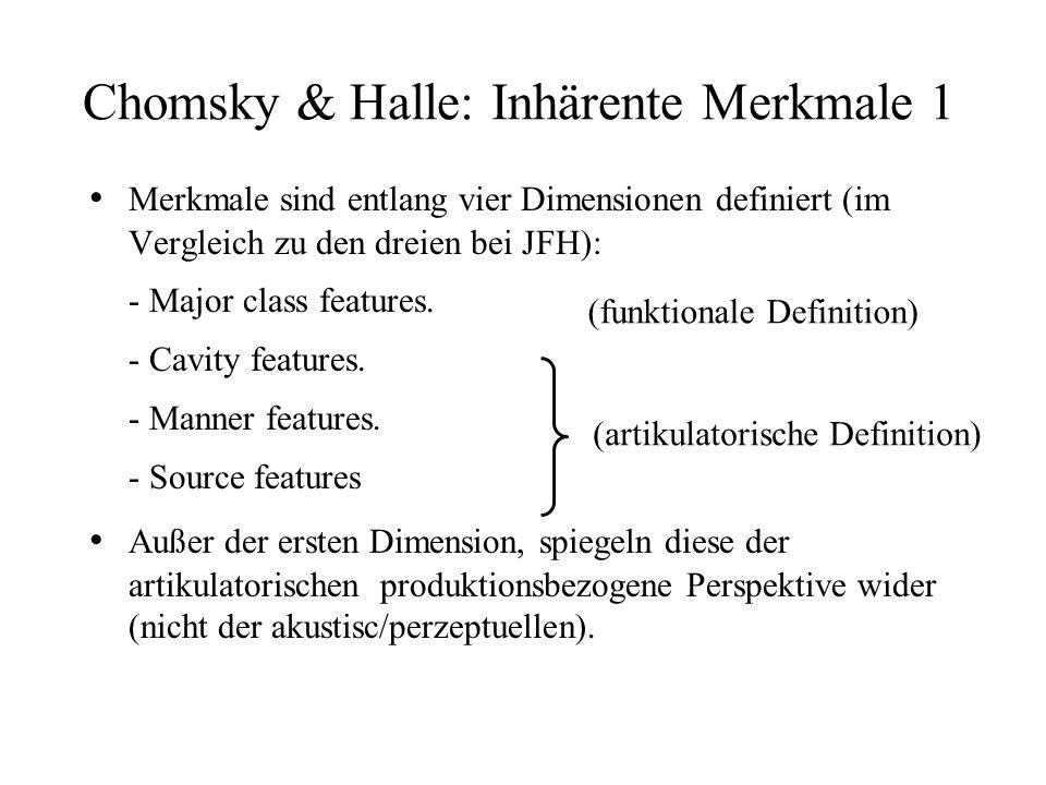 Chomsky & Halle: Inhärente Merkmale 1 Merkmale sind entlang vier Dimensionen definiert (im Vergleich zu den dreien bei JFH): - Major class features. -