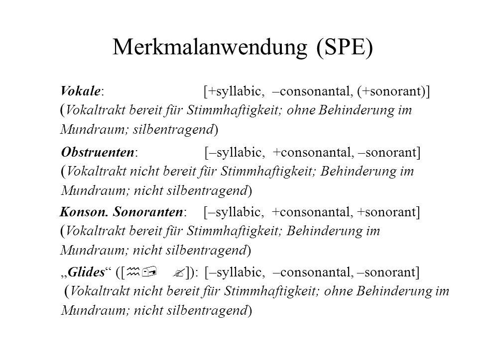 Merkmalanwendung (SPE) Vokale:[+syllabic, –consonantal, (+sonorant)] ( Vokaltrakt bereit für Stimmhaftigkeit; ohne Behinderung im Mundraum; silbentrag
