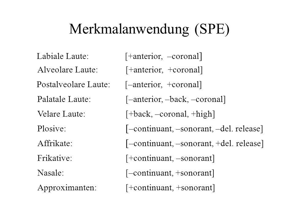 Merkmalanwendung (SPE) Labiale Laute:[+anterior, –coronal ] Alveolare Laute:[+anterior, +coronal] Postalveolare Laute:[–anterior, +coronal] Velare Lau