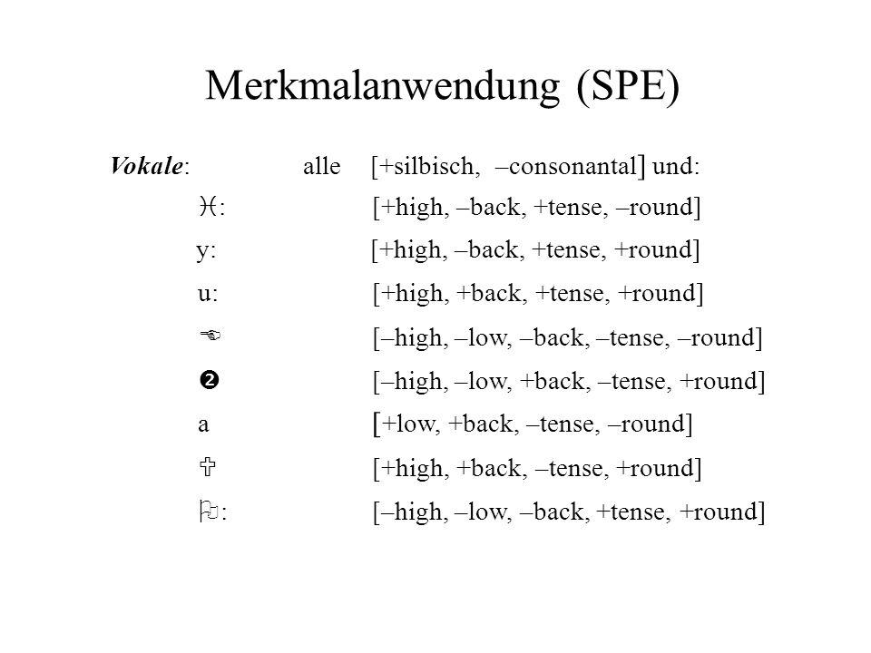 Merkmalanwendung (SPE) Vokale: alle[+silbisch, –consonantal ] und: i :[+high, –back, +tense, –round] y:[+high, –back, +tense, +round] E [–high, –low,
