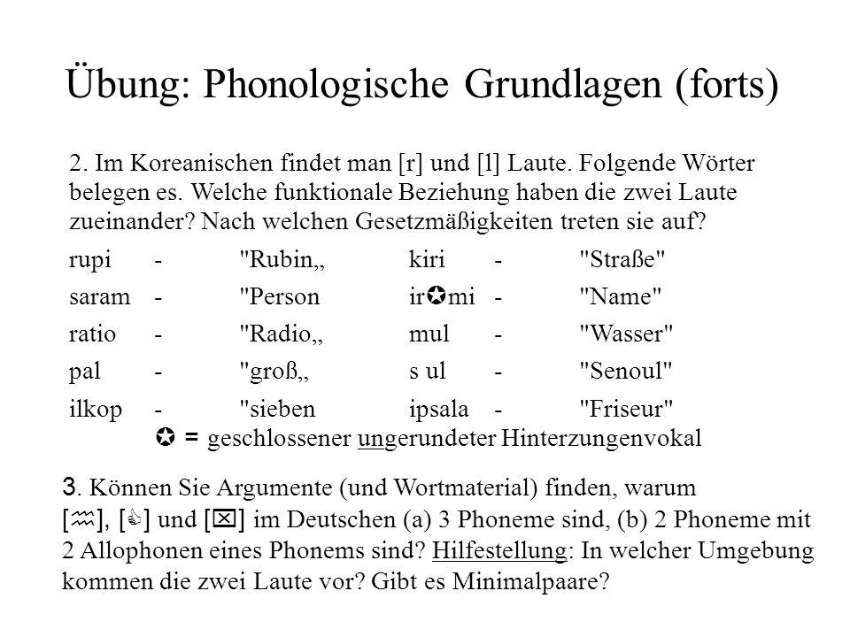 Übung: Phonologische Grundlagen (forts) 2. Im Koreanischen findet man [r] und [l] Laute. Folgende Wörter belegen es. Welche funktionale Beziehung habe
