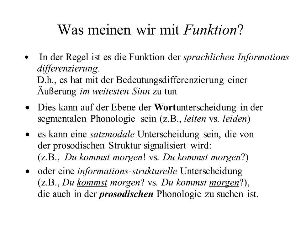 Was meinen wir mit Funktion? In der Regel ist es die Funktion der sprachlichen Informations differenzierung. D.h., es hat mit der Bedeutungsdifferenz