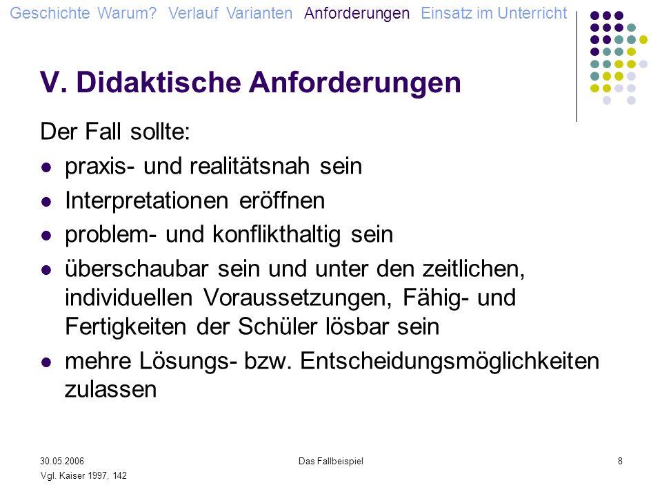 30.05.2006Das Fallbeispiel8 V. Didaktische Anforderungen Der Fall sollte: praxis- und realitätsnah sein Interpretationen eröffnen problem- und konflik