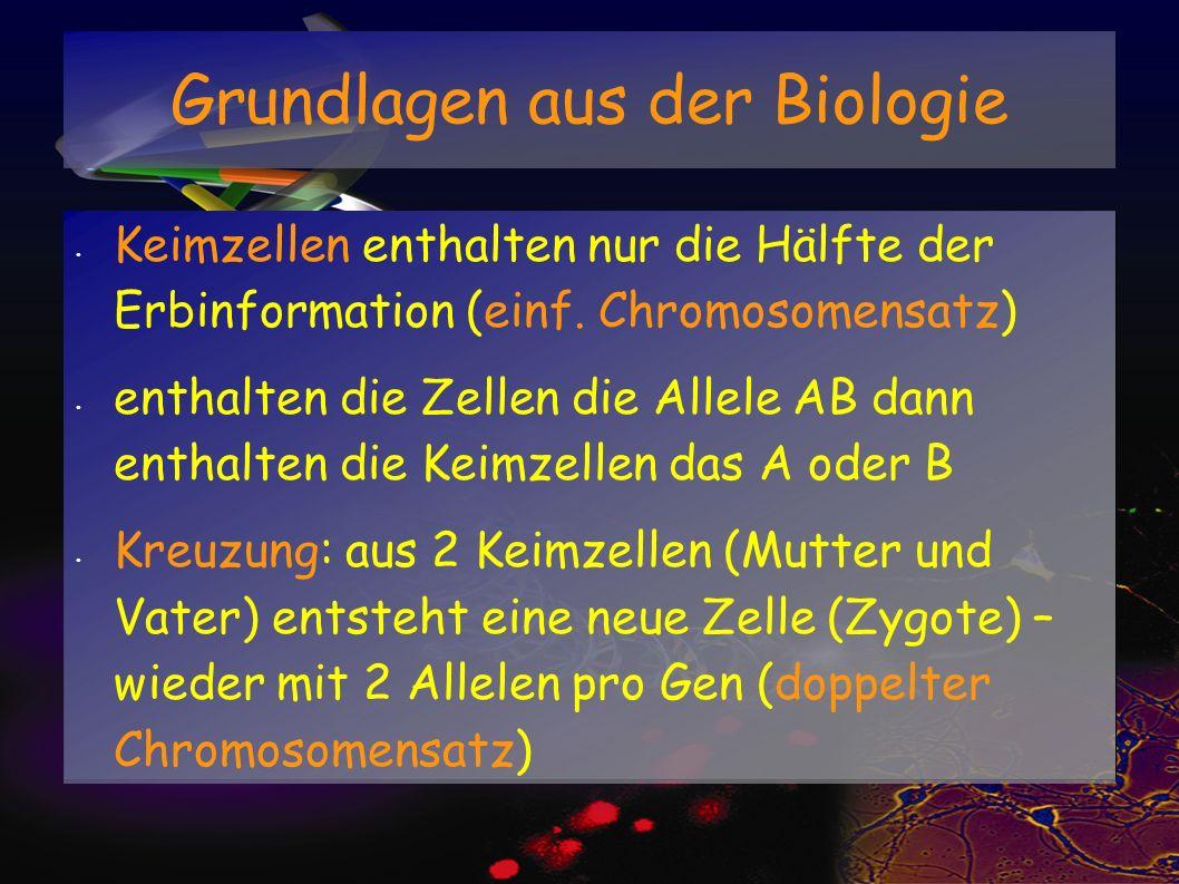 Keimzellen enthalten nur die Hälfte der Erbinformation (einf. Chromosomensatz) enthalten die Zellen die Allele AB dann enthalten die Keimzellen das A