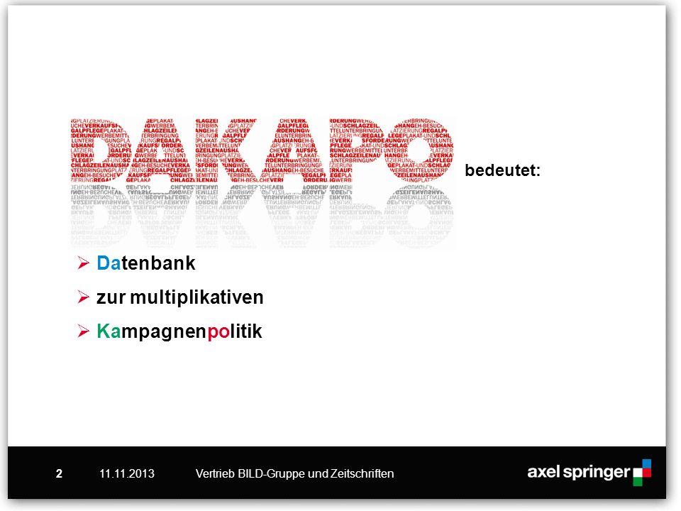 11.11.2013Vertrieb BILD-Gruppe und Zeitschriften2 bedeutet: Datenbank zur multiplikativen Kampagnenpolitik