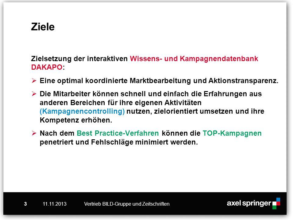 11.11.2013Vertrieb BILD-Gruppe und Zeitschriften3 Ziele Zielsetzung der interaktiven Wissens- und Kampagnendatenbank DAKAPO: Eine optimal koordinierte Marktbearbeitung und Aktionstransparenz.