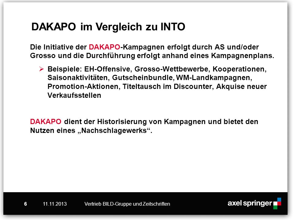 11.11.2013Vertrieb BILD-Gruppe und Zeitschriften6 Die Initiative der DAKAPO-Kampagnen erfolgt durch AS und/oder Grosso und die Durchführung erfolgt anhand eines Kampagnenplans.