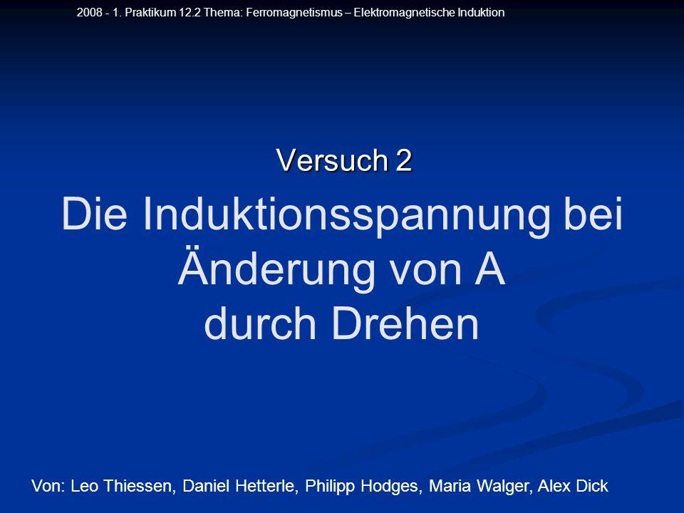 2008 - 1. Praktikum 12.2 Thema: Ferromagnetismus – Elektromagnetische Induktion Die Induktionsspannung bei Änderung von A durch Drehen Versuch 2 Von: