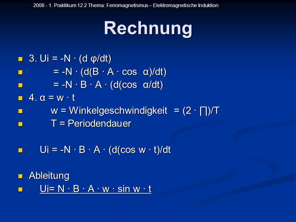 2008 - 1. Praktikum 12.2 Thema: Ferromagnetismus – Elektromagnetische InduktionRechnung 3. Ui = -N (d φ/dt) 3. Ui = -N (d φ/dt) = -N (d(B A cos α)/dt)