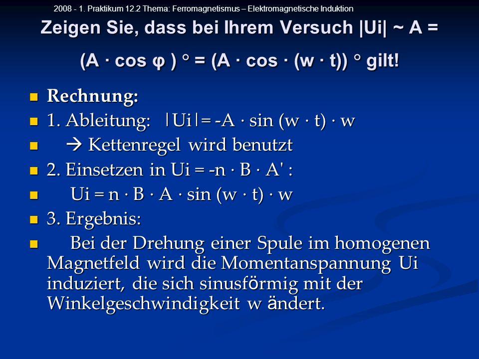 2008 - 1. Praktikum 12.2 Thema: Ferromagnetismus – Elektromagnetische Induktion Zeigen Sie, dass bei Ihrem Versuch |Ui| ~ A = (A cos φ ) ° = (A cos (w