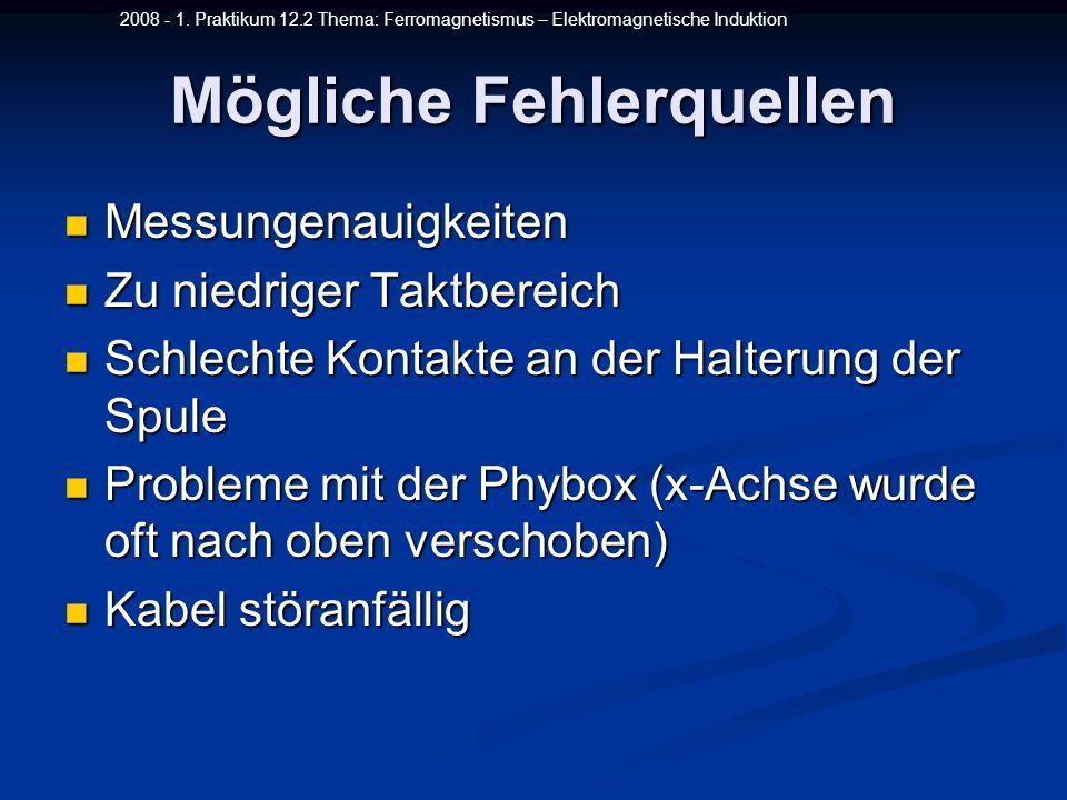 2008 - 1. Praktikum 12.2 Thema: Ferromagnetismus – Elektromagnetische Induktion Mögliche Fehlerquellen Messungenauigkeiten Messungenauigkeiten Zu nied