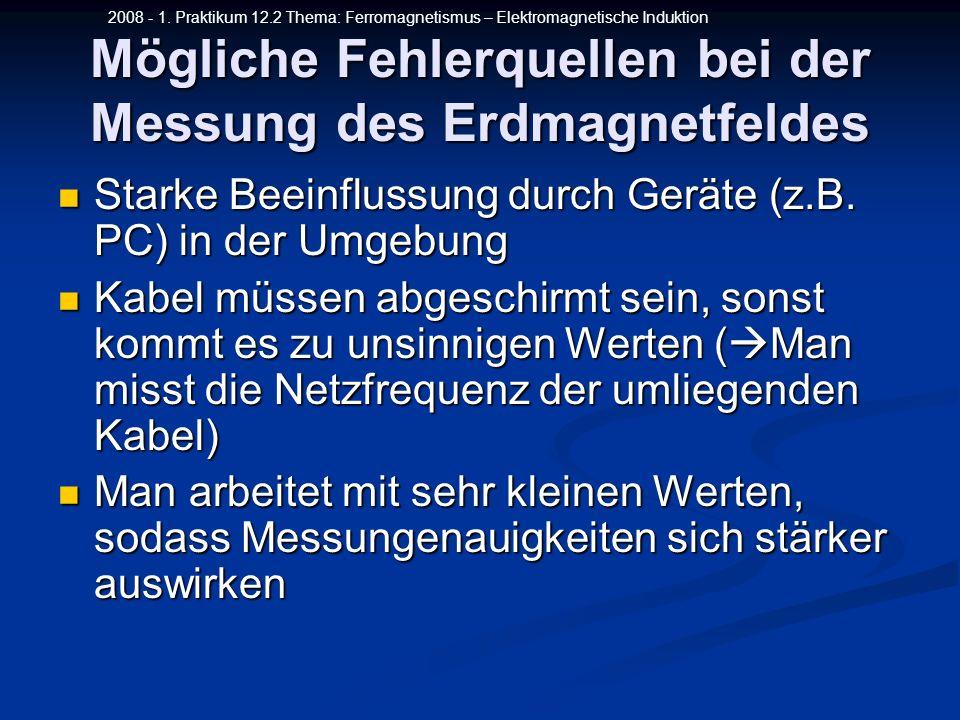 2008 - 1. Praktikum 12.2 Thema: Ferromagnetismus – Elektromagnetische Induktion Mögliche Fehlerquellen bei der Messung des Erdmagnetfeldes Starke Beei