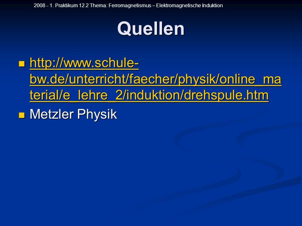 2008 - 1. Praktikum 12.2 Thema: Ferromagnetismus – Elektromagnetische InduktionQuellen http://www.schule- bw.de/unterricht/faecher/physik/online_ma te