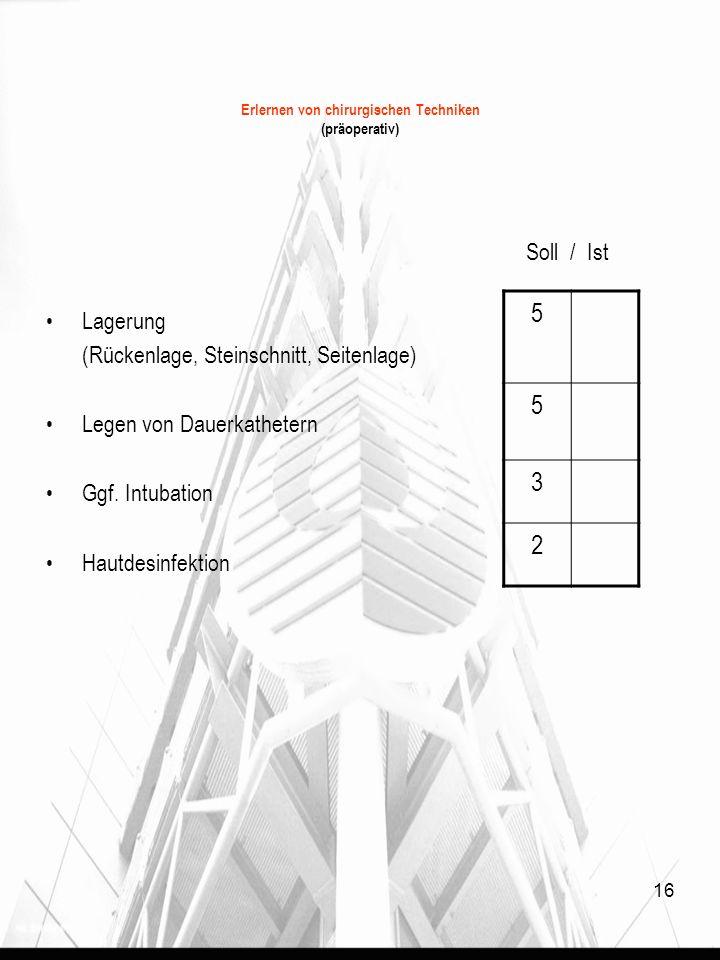 16 Erlernen von chirurgischen Techniken (präoperativ) Soll / Ist Lagerung (Rückenlage, Steinschnitt, Seitenlage) Legen von Dauerkathetern Ggf. Intubat