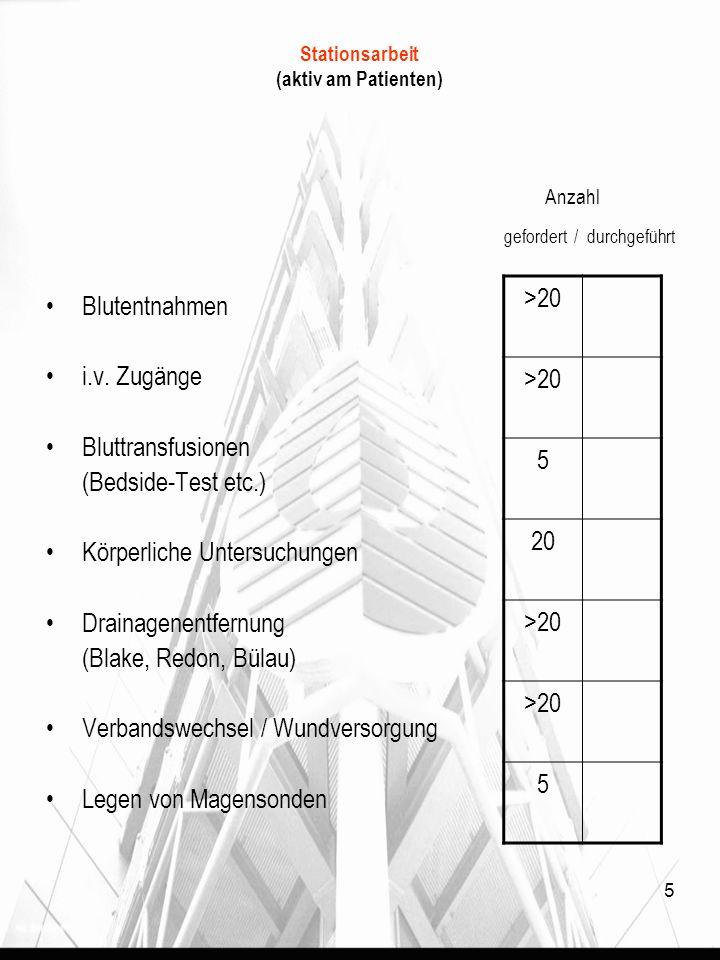 5 Stationsarbeit (aktiv am Patienten) Anzahl gefordert / durchgeführt Blutentnahmen i.v. Zugänge Bluttransfusionen (Bedside-Test etc.) Körperliche Unt