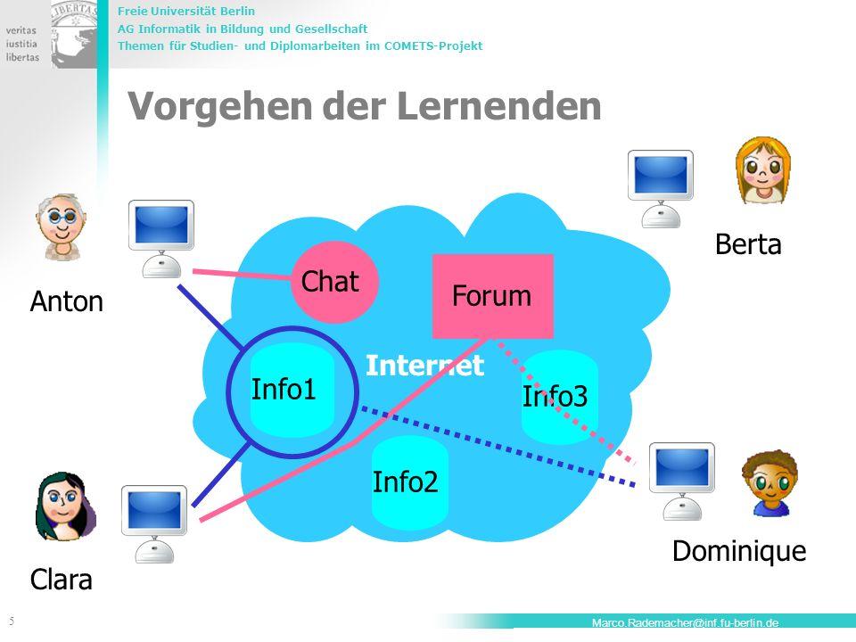 Freie Universität Berlin AG Informatik in Bildung und Gesellschaft Themen für Studien- und Diplomarbeiten im COMETS-Projekt 5 Marco.Rademacher@inf.fu-