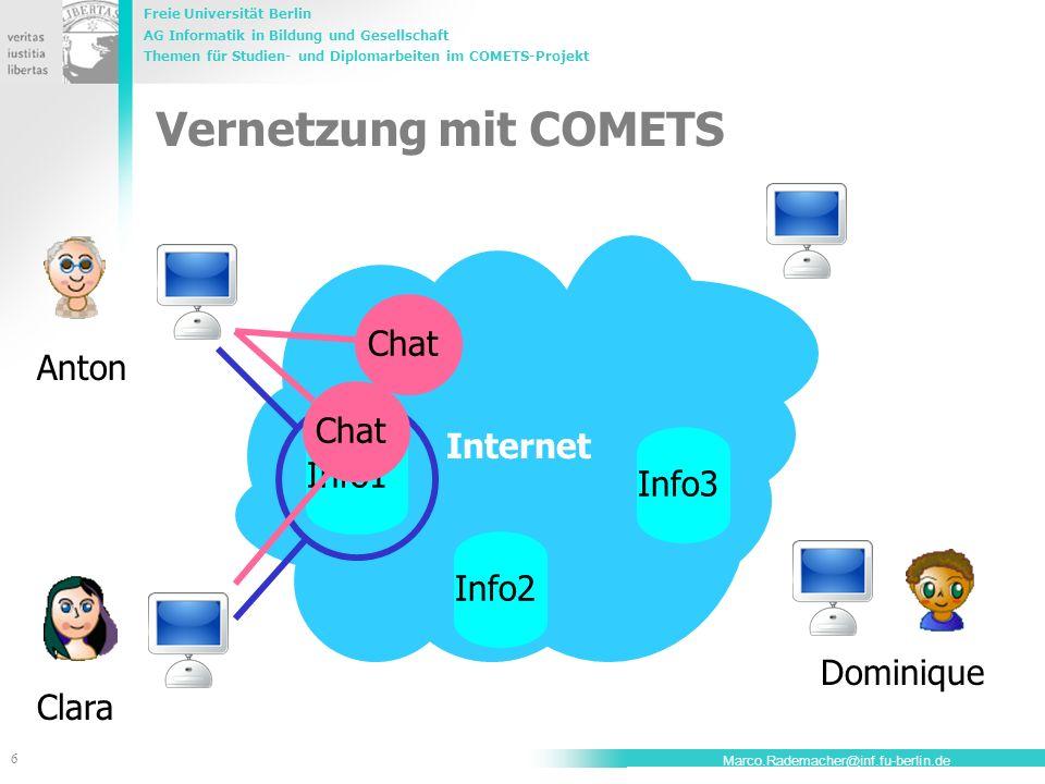 Freie Universität Berlin AG Informatik in Bildung und Gesellschaft Themen für Studien- und Diplomarbeiten im COMETS-Projekt 6 Marco.Rademacher@inf.fu-