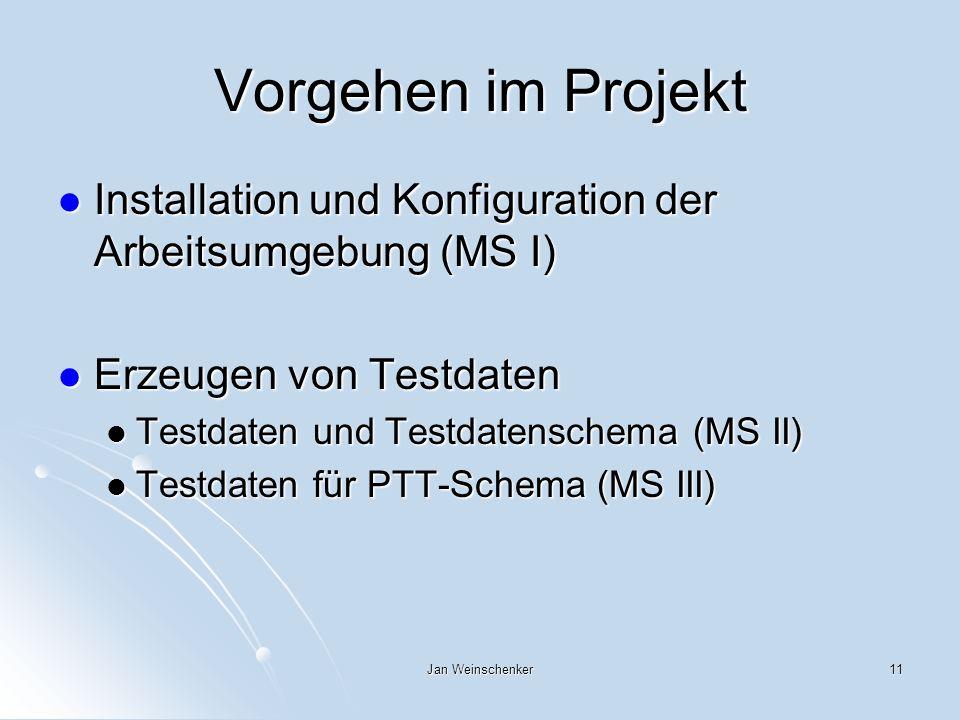 Jan Weinschenker11 Vorgehen im Projekt Installation und Konfiguration der Arbeitsumgebung (MS I) Installation und Konfiguration der Arbeitsumgebung (MS I) Erzeugen von Testdaten Erzeugen von Testdaten Testdaten und Testdatenschema (MS II) Testdaten und Testdatenschema (MS II) Testdaten für PTT-Schema (MS III) Testdaten für PTT-Schema (MS III)