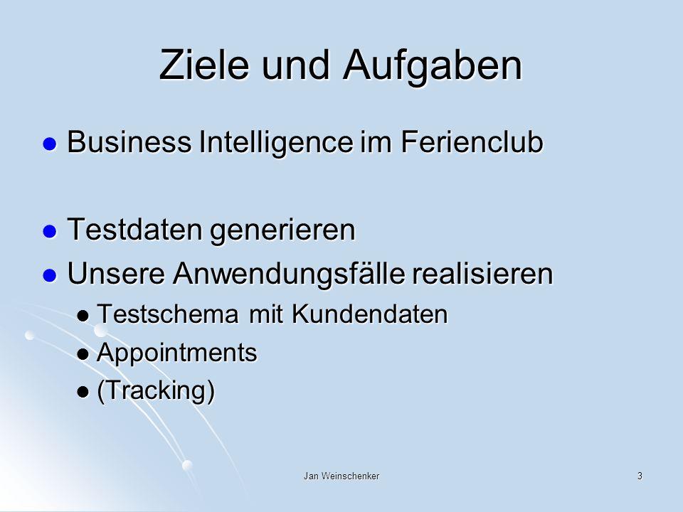 Jan Weinschenker3 Ziele und Aufgaben Business Intelligence im Ferienclub Business Intelligence im Ferienclub Testdaten generieren Testdaten generieren Unsere Anwendungsfälle realisieren Unsere Anwendungsfälle realisieren Testschema mit Kundendaten Testschema mit Kundendaten Appointments Appointments (Tracking) (Tracking)