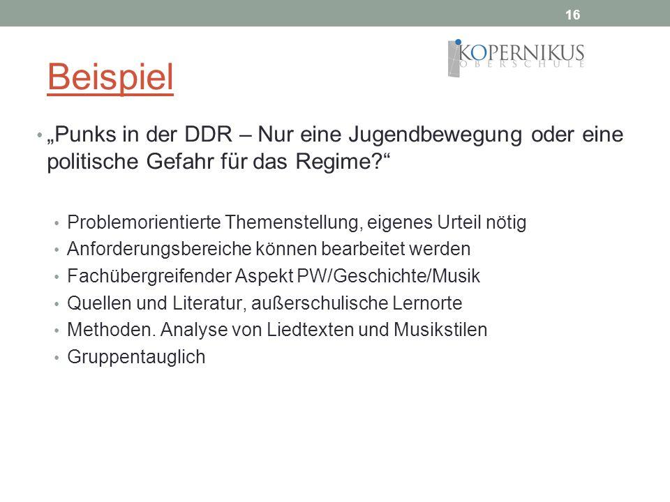 16 Beispiel Punks in der DDR – Nur eine Jugendbewegung oder eine politische Gefahr für das Regime? Problemorientierte Themenstellung, eigenes Urteil n