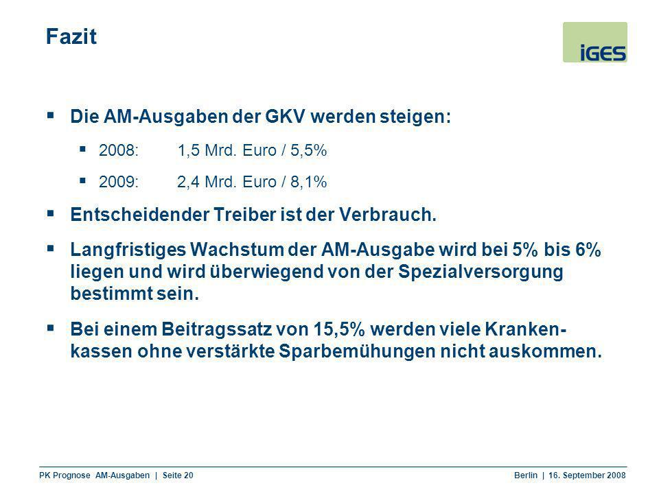 PK Prognose AM-Ausgaben | Seite 20 Berlin | 16. September 2008 Fazit Die AM-Ausgaben der GKV werden steigen: 2008:1,5 Mrd. Euro / 5,5% 2009:2,4 Mrd. E