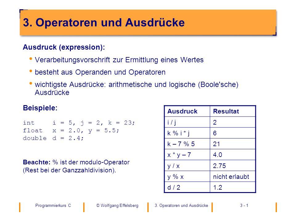 Programmierkurs C3. Operatoren und Ausdrücke3 - 1© Wolfgang Effelsberg 3. Operatoren und Ausdrücke Ausdruck (expression): Verarbeitungsvorschrift zur