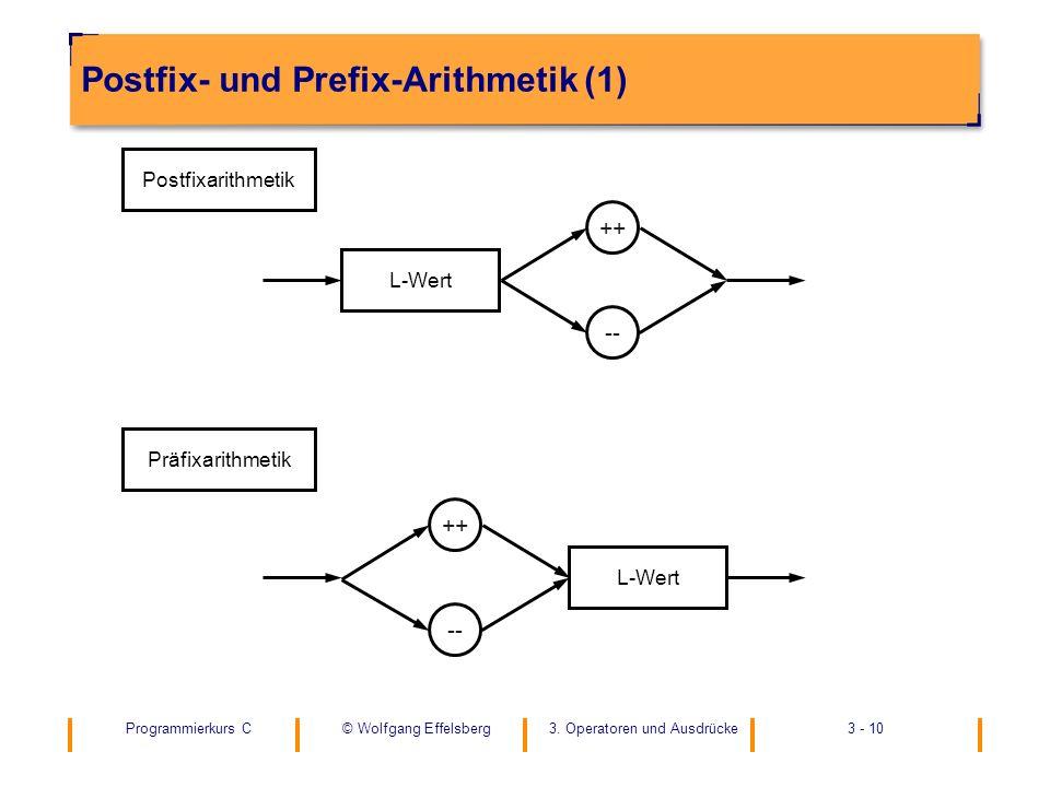 Programmierkurs C3. Operatoren und Ausdrücke3 - 10© Wolfgang Effelsberg Postfix- und Prefix-Arithmetik (1) -- ++ Postfixarithmetik L-Wert -- ++ Präfix