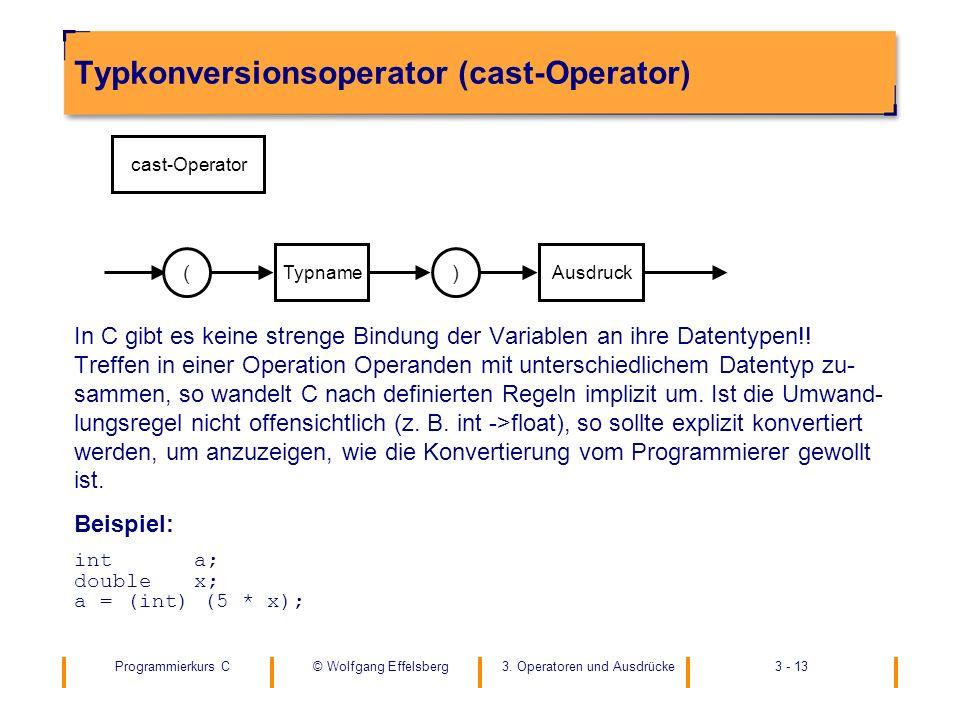 Programmierkurs C3. Operatoren und Ausdrücke3 - 13© Wolfgang Effelsberg Typkonversionsoperator (cast-Operator) In C gibt es keine strenge Bindung der