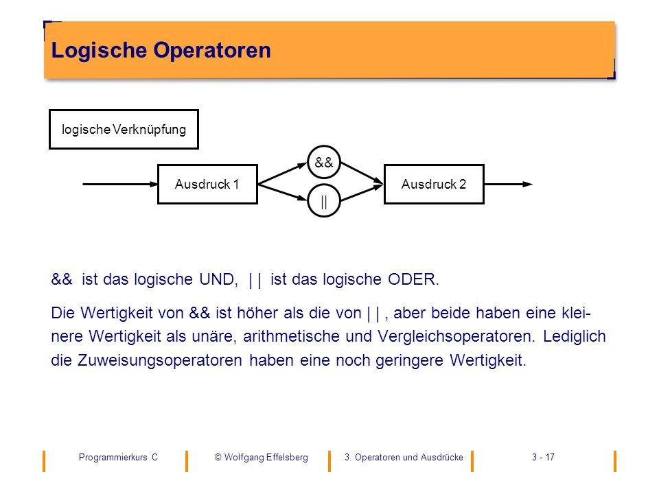 Programmierkurs C3. Operatoren und Ausdrücke3 - 17© Wolfgang Effelsberg Logische Operatoren && ist das logische UND, | | ist das logische ODER. Die We