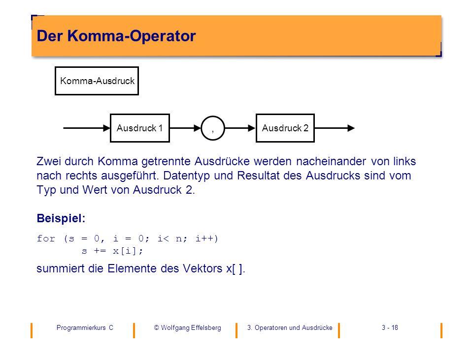 Programmierkurs C3. Operatoren und Ausdrücke3 - 18© Wolfgang Effelsberg Der Komma-Operator Zwei durch Komma getrennte Ausdrücke werden nacheinander vo