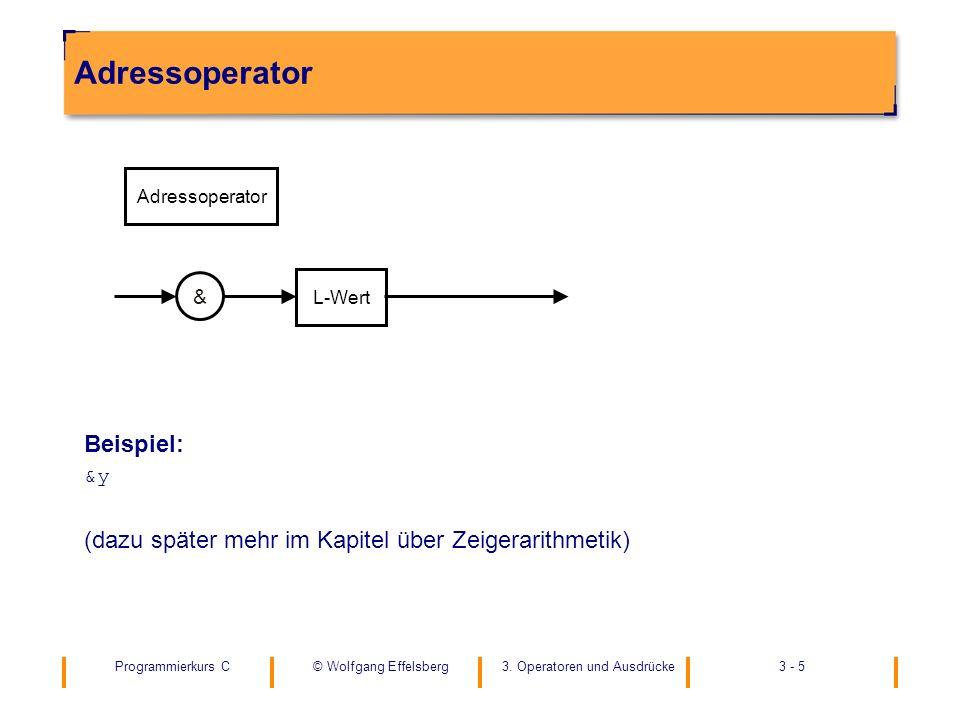 Programmierkurs C3. Operatoren und Ausdrücke3 - 5© Wolfgang Effelsberg Adressoperator Beispiel: &y (dazu später mehr im Kapitel über Zeigerarithmetik)