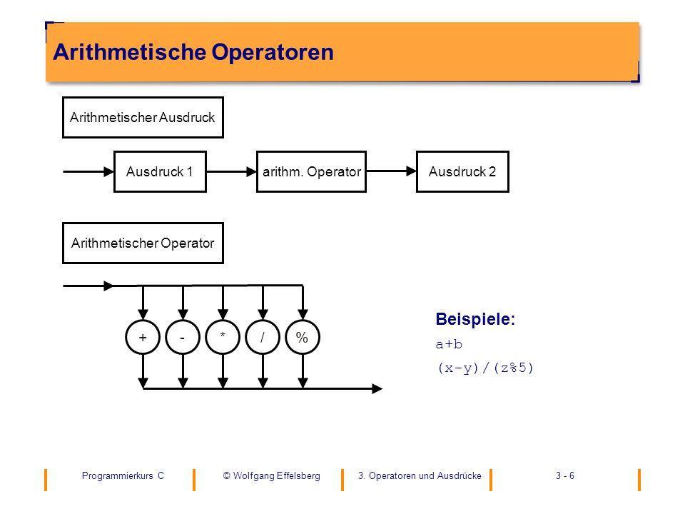 Programmierkurs C3. Operatoren und Ausdrücke3 - 6© Wolfgang Effelsberg Arithmetische Operatoren Beispiele: a+b (x-y)/(z%5) Arithmetischer Ausdruck Aus