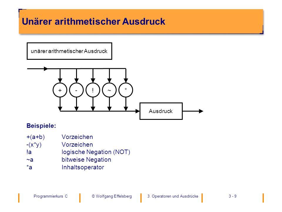 Programmierkurs C3. Operatoren und Ausdrücke3 - 9© Wolfgang Effelsberg Unärer arithmetischer Ausdruck Beispiele: +(a+b)Vorzeichen -(x*y)Vorzeichen !al