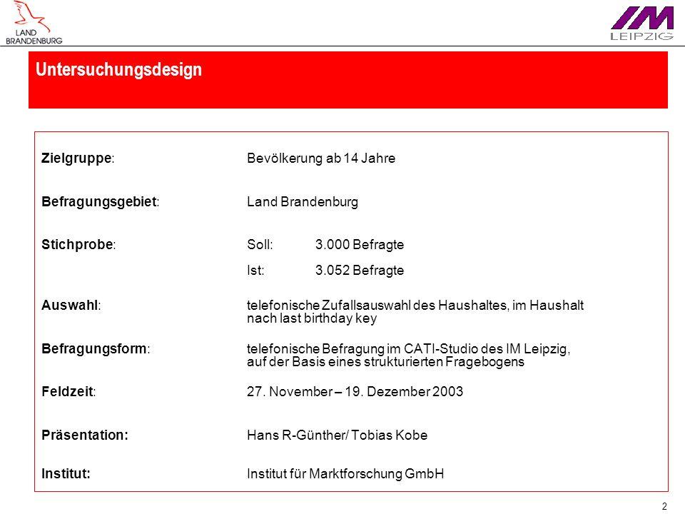 2 Untersuchungsdesign Zielgruppe:Bevölkerung ab 14 Jahre Befragungsgebiet:Land Brandenburg Stichprobe:Soll:3.000 Befragte Ist:3.052 Befragte Auswahl:t
