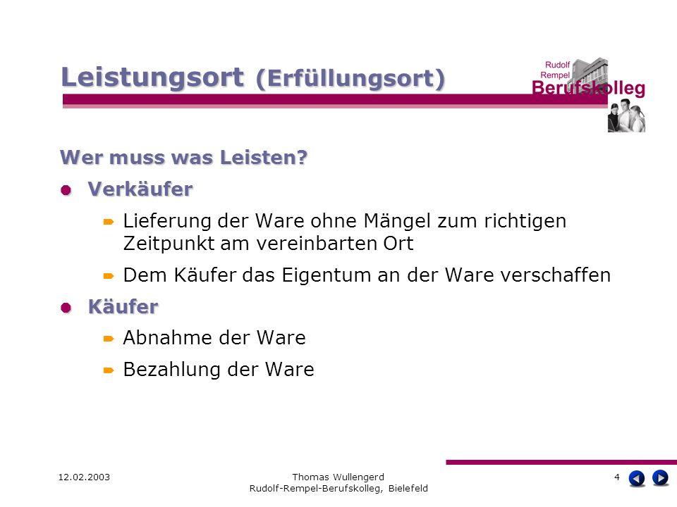 12.02.2003Thomas Wullengerd Rudolf-Rempel-Berufskolleg, Bielefeld 4 Wer muss was Leisten? Verkäufer Verkäufer Lieferung der Ware ohne Mängel zum richt