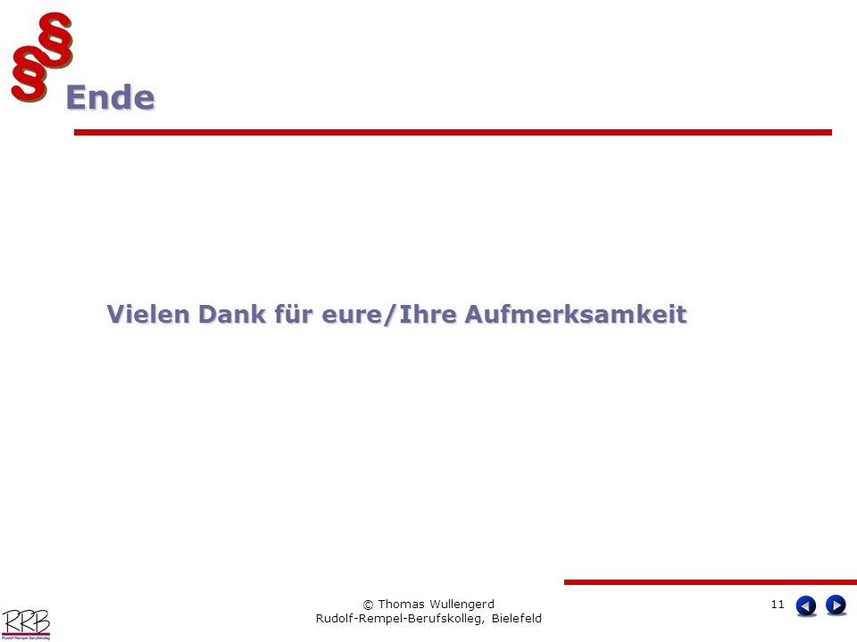 § § § § © Thomas Wullengerd Rudolf-Rempel-Berufskolleg, Bielefeld 11 Ende Ende Vielen Dank für eure/Ihre Aufmerksamkeit