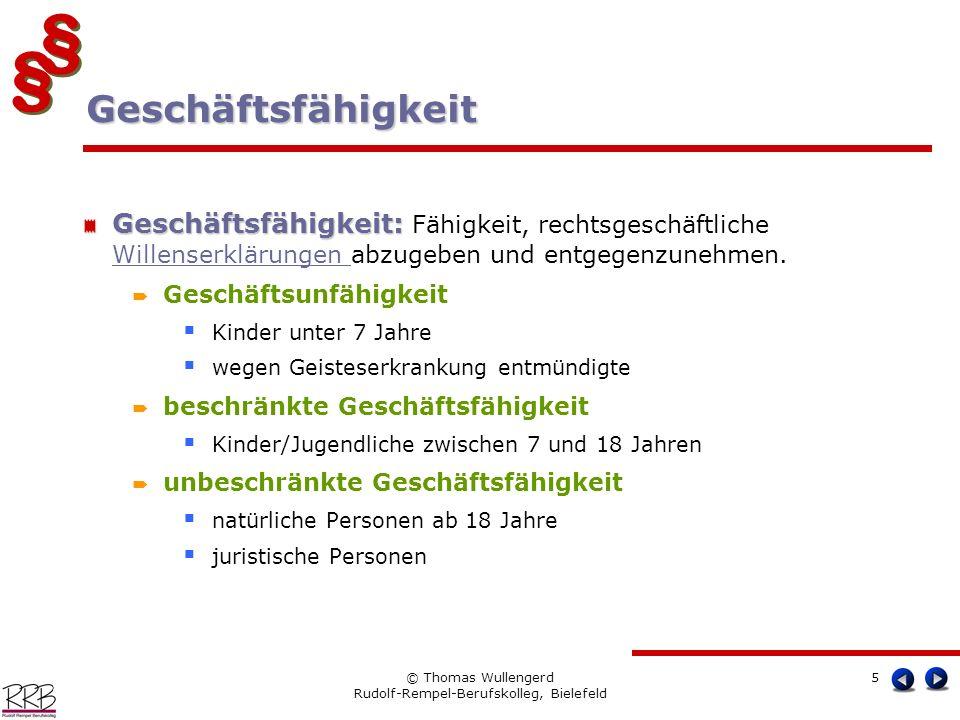 § § § § © Thomas Wullengerd Rudolf-Rempel-Berufskolleg, Bielefeld 5 Geschäftsfähigkeit: Geschäftsfähigkeit: Fähigkeit, rechtsgeschäftliche Willenserkl