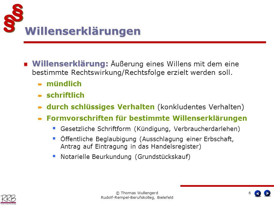§ § § § © Thomas Wullengerd Rudolf-Rempel-Berufskolleg, Bielefeld 6 Willenserklärung: Willenserklärung: Äußerung eines Willens mit dem eine bestimmte
