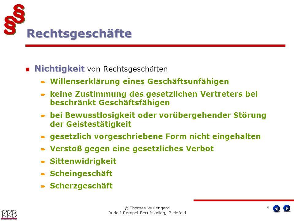 § § § § © Thomas Wullengerd Rudolf-Rempel-Berufskolleg, Bielefeld 8 Nichtigkeit Nichtigkeit von Rechtsgeschäften Willenserklärung eines Geschäftsunfäh