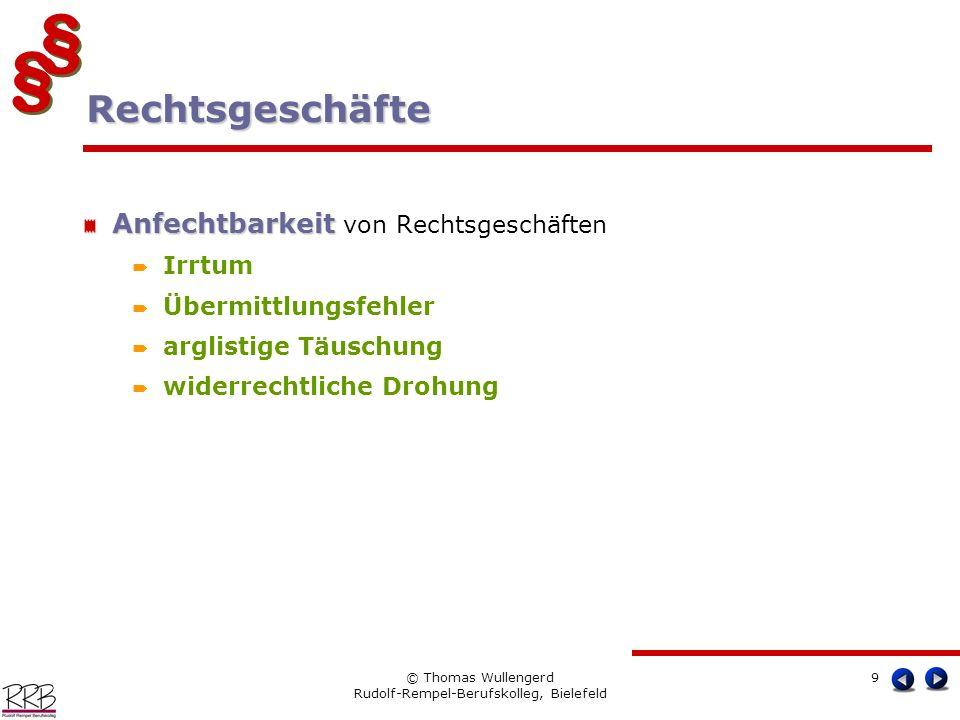 § § § § © Thomas Wullengerd Rudolf-Rempel-Berufskolleg, Bielefeld 9 Anfechtbarkeit Anfechtbarkeit von Rechtsgeschäften Irrtum Übermittlungsfehler argl