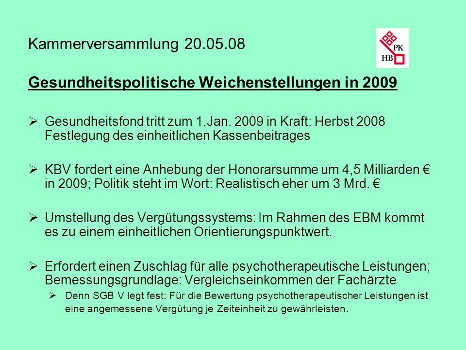 Kammerversammlung 20.05.08 Gesundheitspolitische Weichenstellungen in 2009 Gesundheitsfond tritt zum 1.Jan. 2009 in Kraft: Herbst 2008 Festlegung des