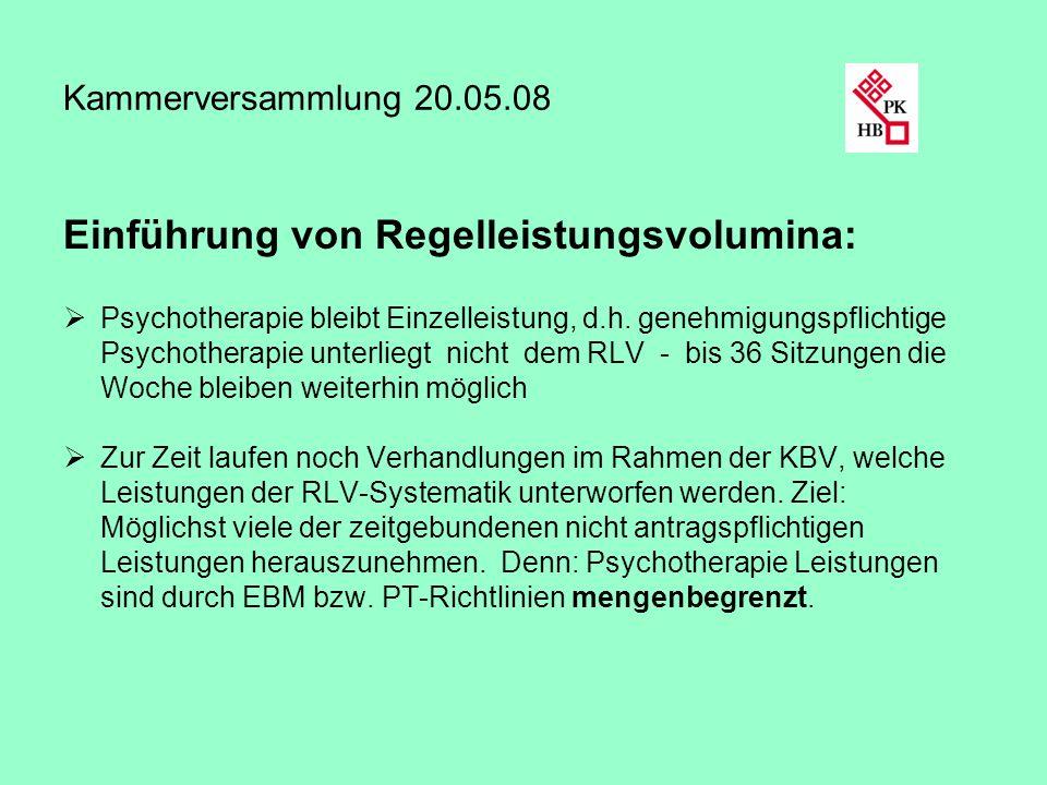 Kammerversammlung 20.05.08 Einführung von Regelleistungsvolumina: Psychotherapie bleibt Einzelleistung, d.h. genehmigungspflichtige Psychotherapie unt